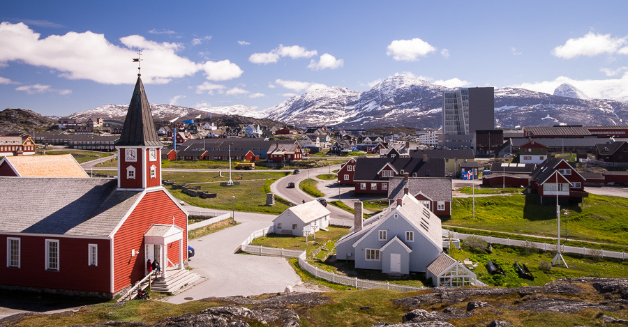 Looking across the old part of Nuuk towards the newer section and mountains - Greenland