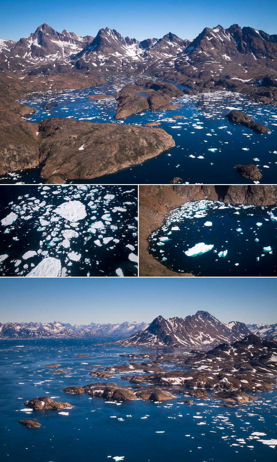 Aerial views of the landscape and ice in the fjord on a helicopter transfer between Tasiilaq and Kulusuk, East Greenland