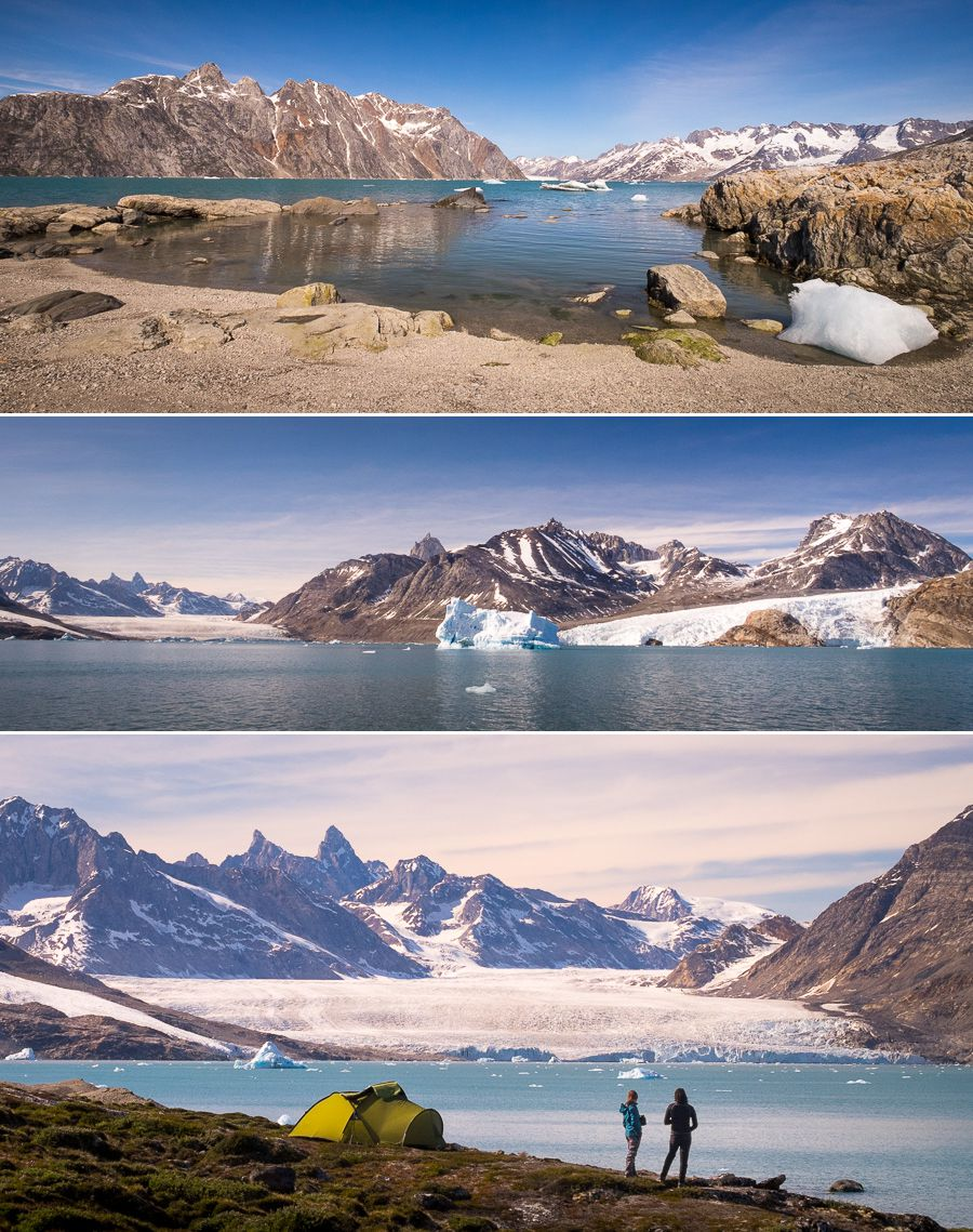Views of the Karale Fjord and three glaciers (including Karale and Knud Rasmussen) from the first campsite of Unplugged Wilderness.