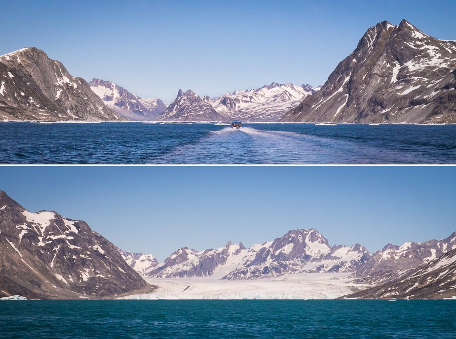 Views of mountains and glaciers in the SermiligaaqFjord as we approach our first campsite for the Unplugged Wilderness Trek