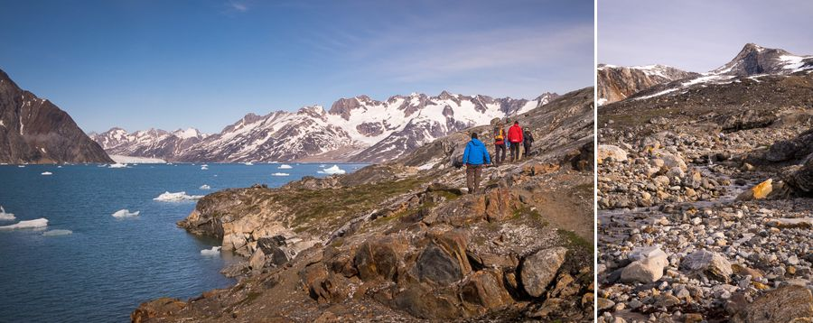 Views of the fjord and mountains on a short hike from first campsite