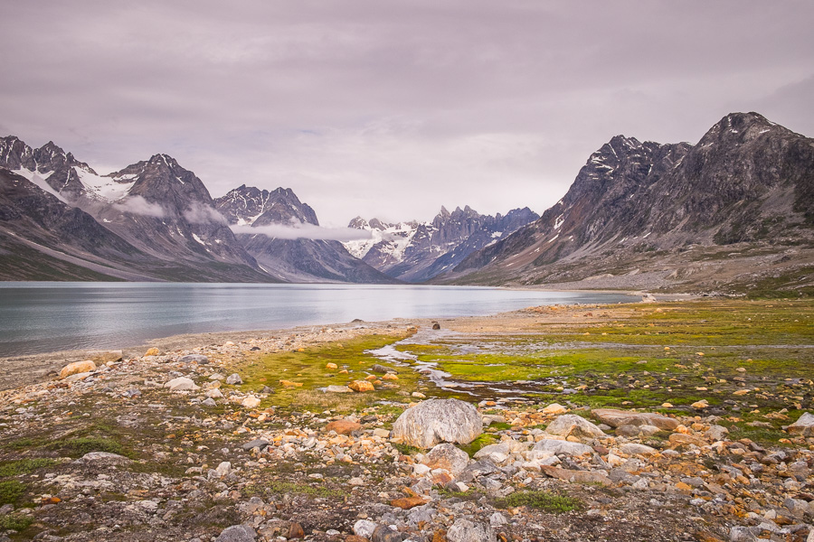 View up the Tasiilaq Fjord to the triplets on a very overcast morning
