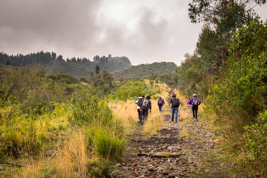 Hiking companions starting up the trail to Volcán Pasochoa near Quito, Ecuador