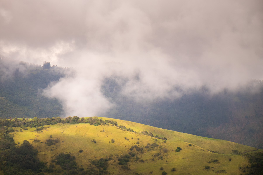 View from the start of the hiking trail to Volcán Pasochoa near Quito, Ecuador