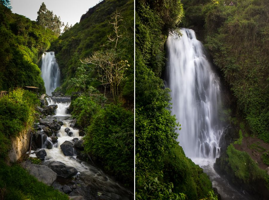 Wide and close-in views of the Cascada de Peguche waterfall near Otavalo, Ecuador