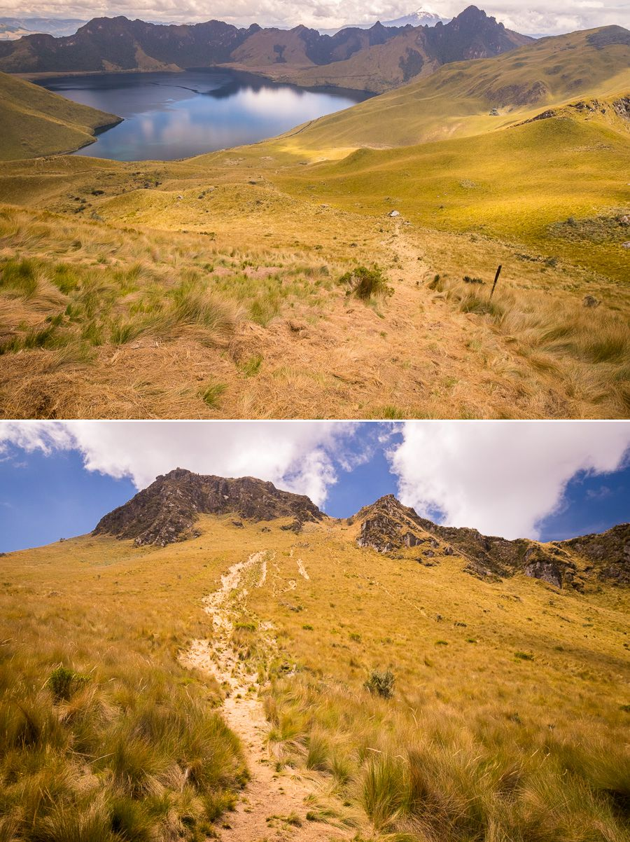 The very slippery main trail descending from the summit of Fuya Fuya near Otavalo, Ecuador