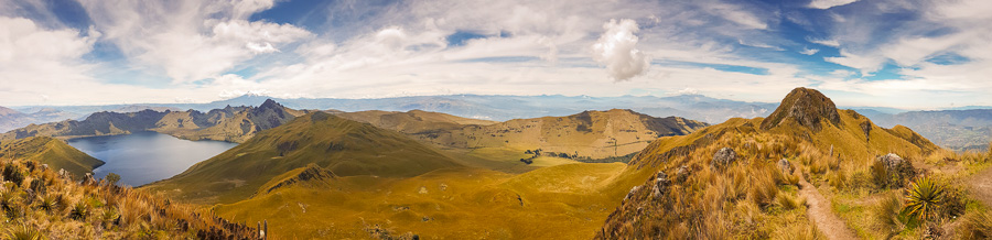 Panorama of the view from summit of Fuya Fuya near Otavalo, Ecuador. Includes the Cayambe, Antisana and Cotopaxi volcanoes and Laguna Caricocha