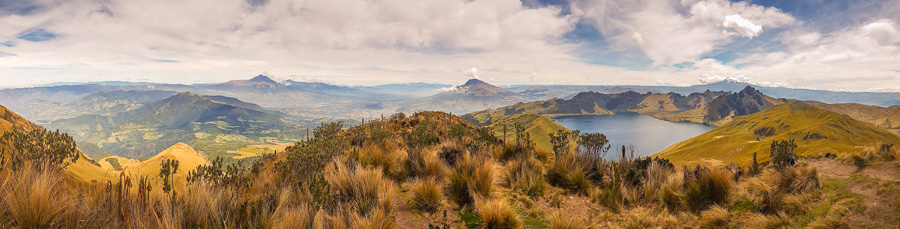 Panorama of the view from summit of Fuya Fuya near Otavalo, Ecuador. Includes the Cotocatchi, Cayambe volcanoes and Laguna Caricocha