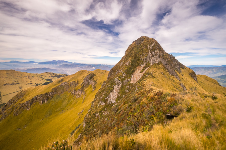 View of the highest of the Fuya Fuya peaks from the saddle. Near Otavalo in Ecuador
