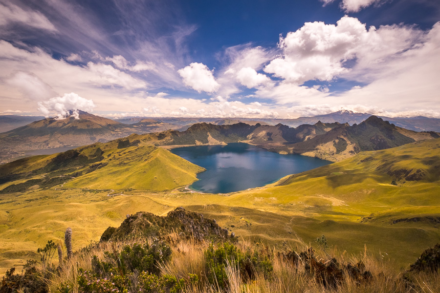 View Laguna Caricocha from the summit of Fuya Fuya near Otavalo, Ecuador
