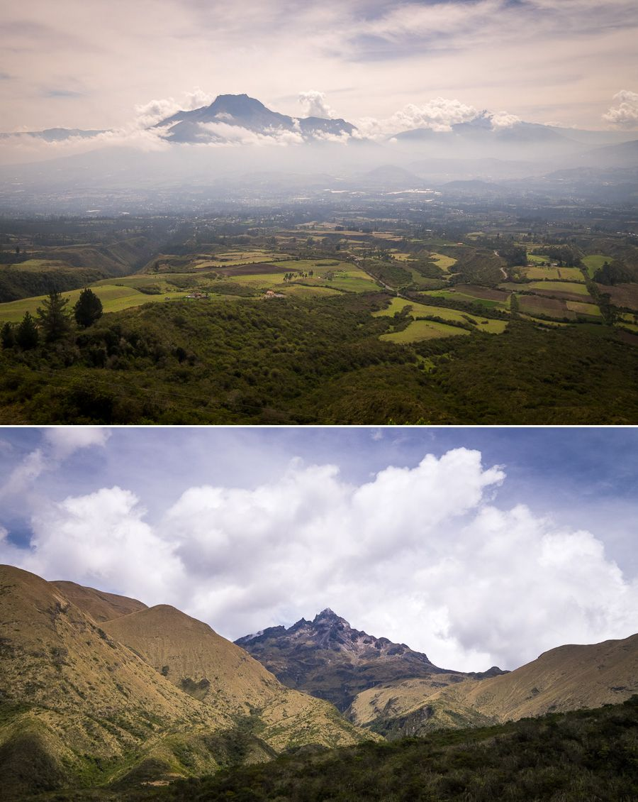 Views of the surrounding volcanos while hiking the rim of Laguna Cuicocha near Otavalo, Ecuador
