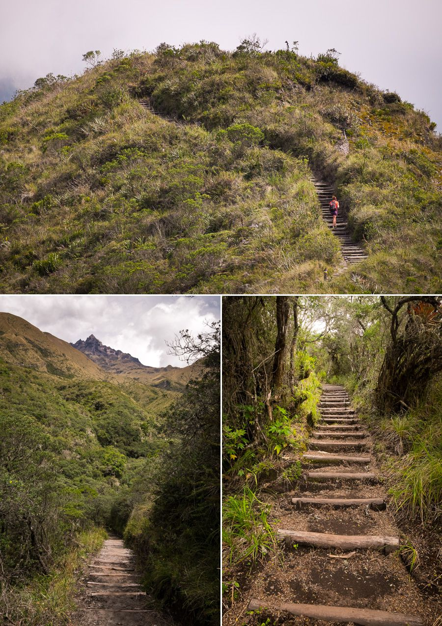Images of the well-maintained trail around Laguna Cuicocha near Otavalo, Ecuador