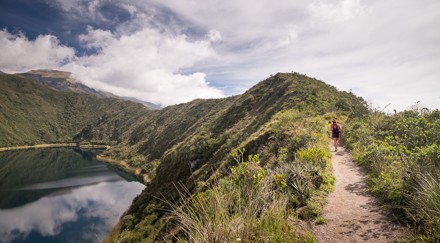 My Argentinean room-mate hiking the the trail around Laguna Cuicocha near Otavalo, Ecuador