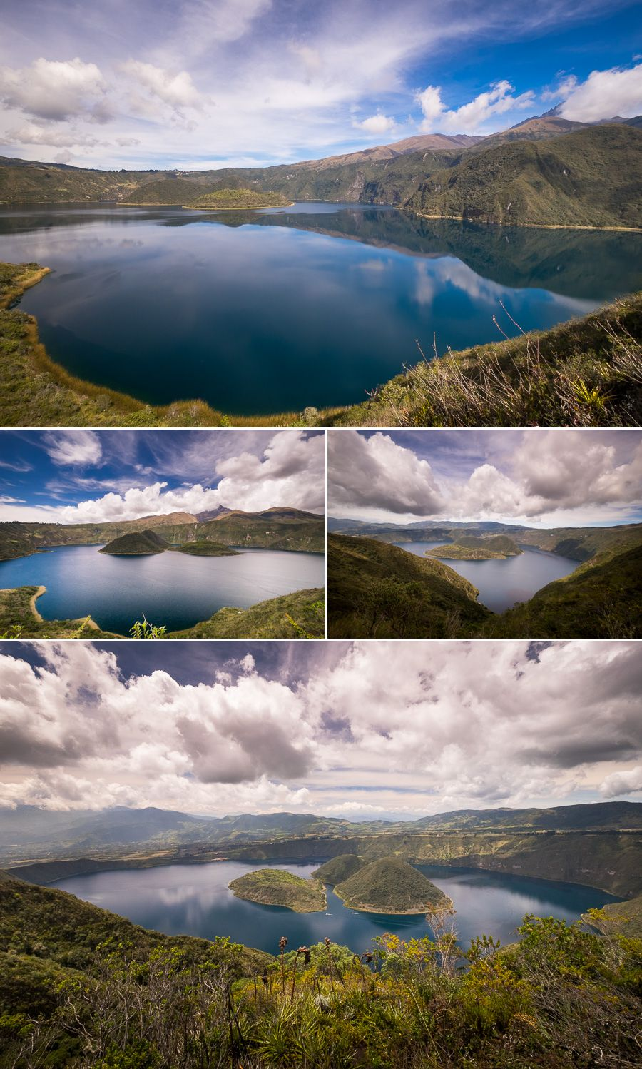 Various views of Laguna Cuicocha, taken while hiking the crater rim near near Otavalo, Ecuador