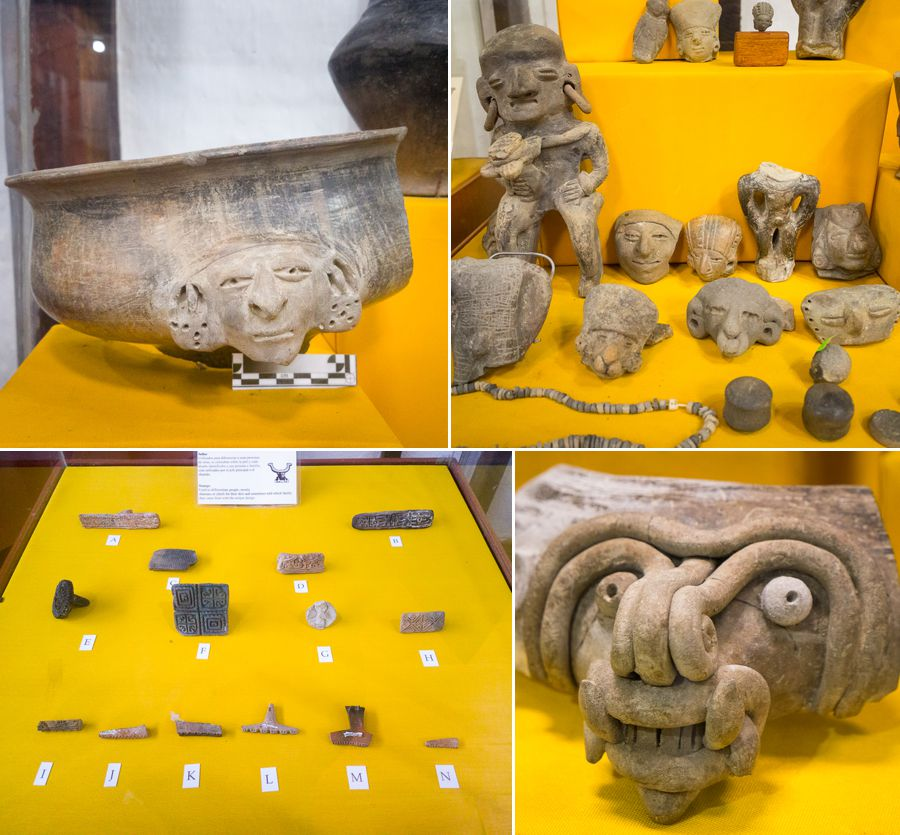 Different archaeological artifacts on display in the Agua Blanca museum