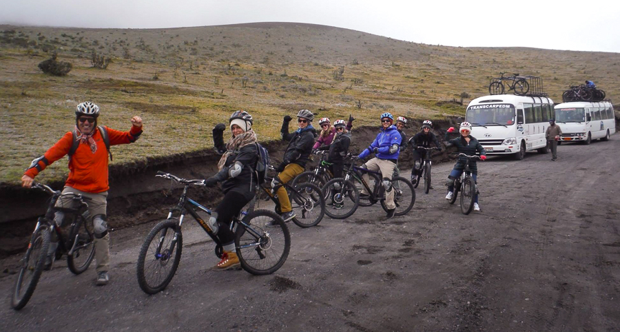 Our group on their mountain bikes ready to ride down the Cotopaxi volcano in Ecuador