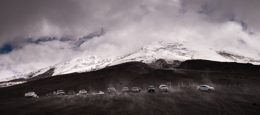 A glimpse of the snowy peak of Cotopaxi from the carpark - Ecuador
