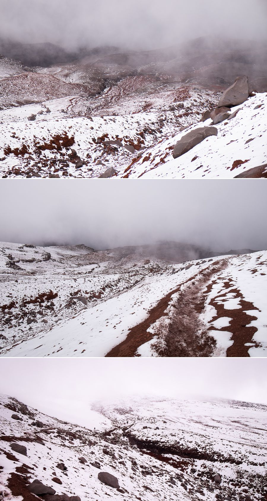 Views of the snowy landscape we encountered while hiking between the refugio and the glacier on Volcán Cotopaxi in Ecuador