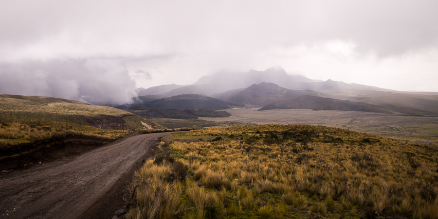 Misty view of the Rumiñahui volcano as we mountain biked down the Cotopaxi Volcano in Ecuador