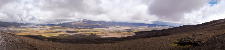 Panorama of the valley below the Cotopaxi volcano, Ecuador
