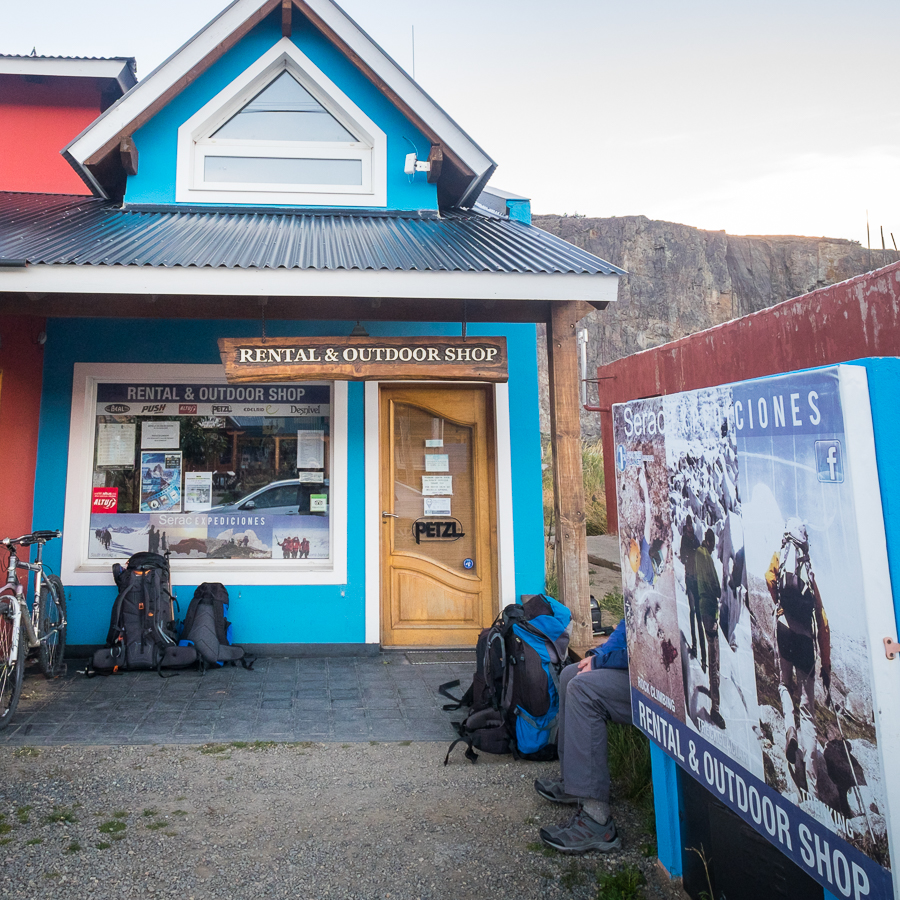 Storefront of Serac Expeditions in El Chaltén - Argentina