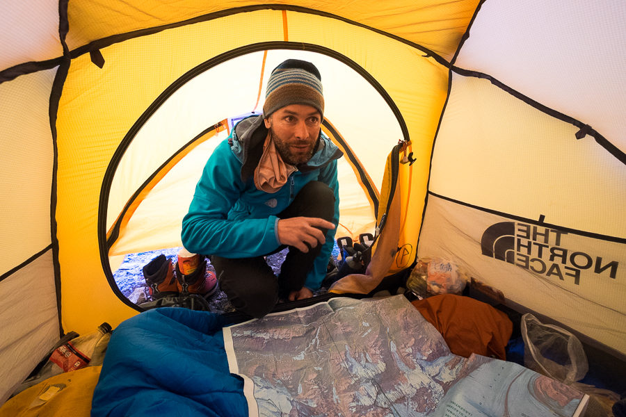 Juan explaining the plan for Day 2 in our tent - - South Patagonia Icefield - Argentina