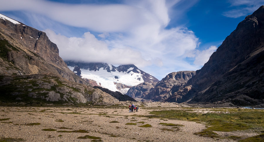 Trekking companions in the wide glacial valley after Piedra del Fraile - South Patagonia Icefield - Argentina