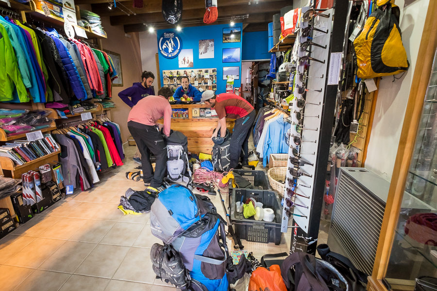 Inside Serac Expeditions with the guides packing the last of the gear