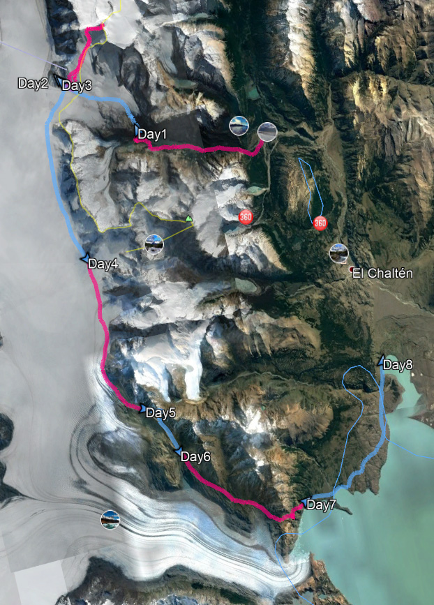 Our trekking route for the South Patagonia Icefield Expedition