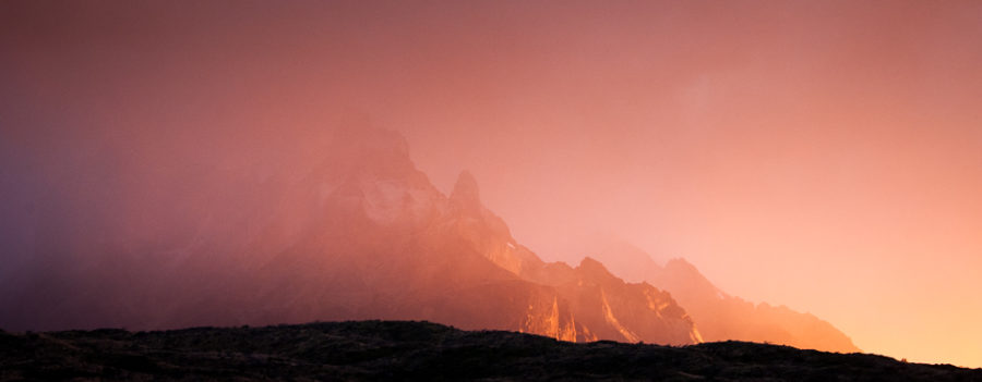 A rainy dawn at the Torres del Paine National Park